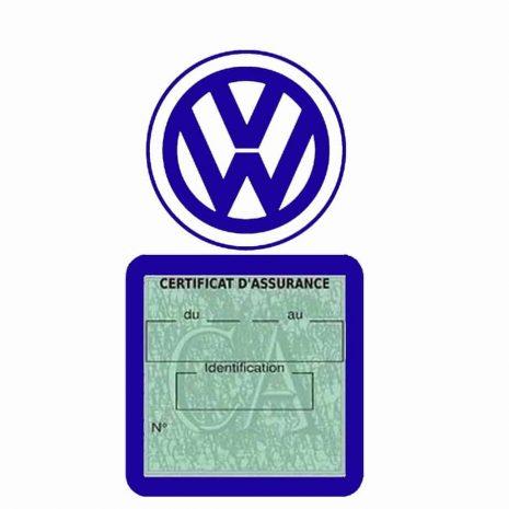 VOLKSWAGEN pochette étui assurance voiture VW bleu foncé
