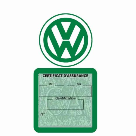 VOLKSWAGEN pochette étui assurance voiture VW vert foncé