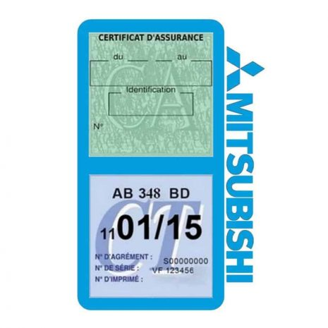 Mitsubishi double vignette assurance voiture bleu clair