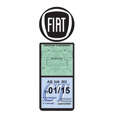 Porte assurance super méga Fiat logo voiture