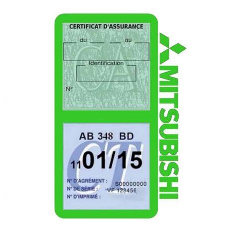 Mitsubishi double vignette assurance voiture vert clair