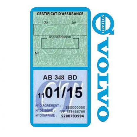 Pochette VOLVO double étui assurance voiture bleu clair