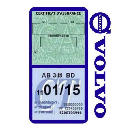 Pochette VOLVO double étui assurance voiture bleu foncé