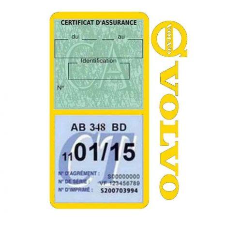 Pochette VOLVO double étui assurance voiture jaune