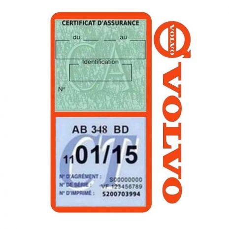 Pochette VOLVO double étui assurance voiture orange