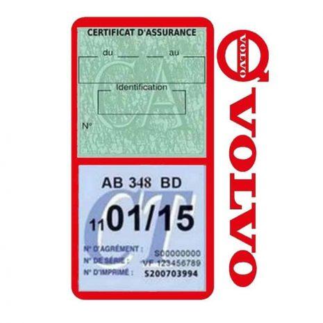 Pochette VOLVO double étui assurance voiture rouge