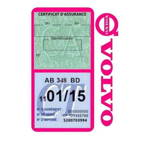 Pochette VOLVO double étui assurance voiture rose