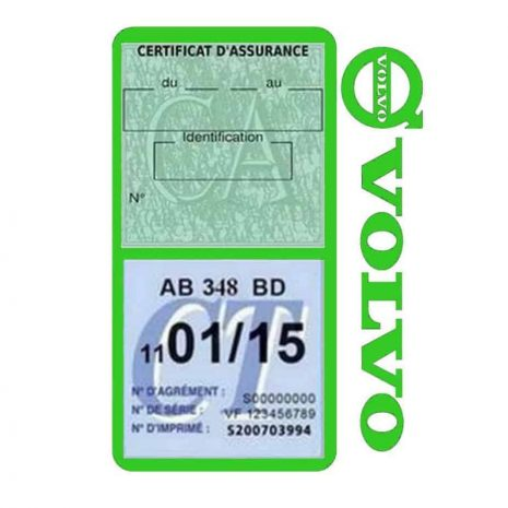 Pochette VOLVO double étui assurance voiture vert clair