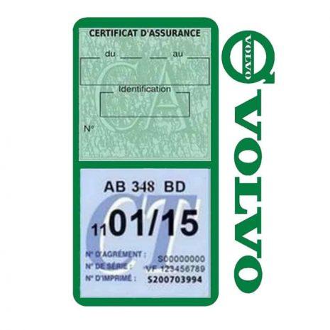 Pochette VOLVO double étui assurance voiture vert foncé