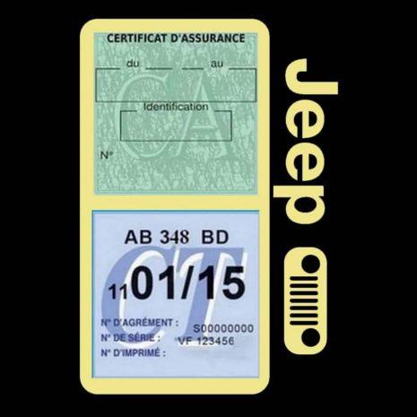 Porte assurance JEEP Calandre beige double étui pochette voiture