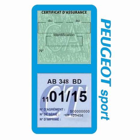 Pochette Peugeot Sport double étui assurance auto bleu clair