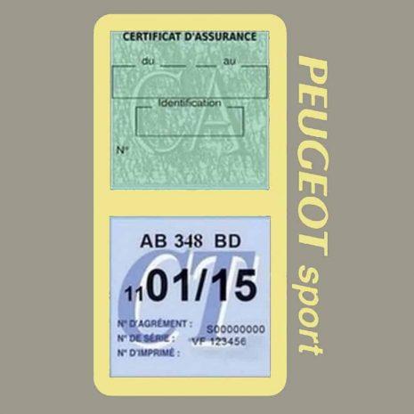 Pochette Peugeot Sport double étui assurance auto beige