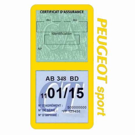 Pochette Peugeot Sport double étui assurance auto jaune