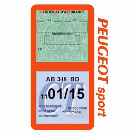 Pochette Peugeot Sport double étui assurance auto orange