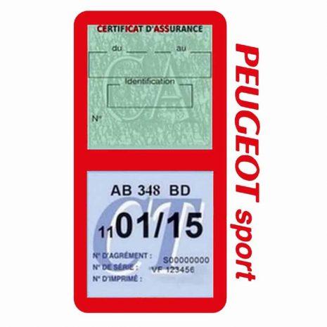 Pochette Peugeot Sport double étui assurance auto rouge
