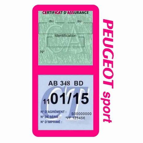 Pochette Peugeot Sport double étui assurance auto rose