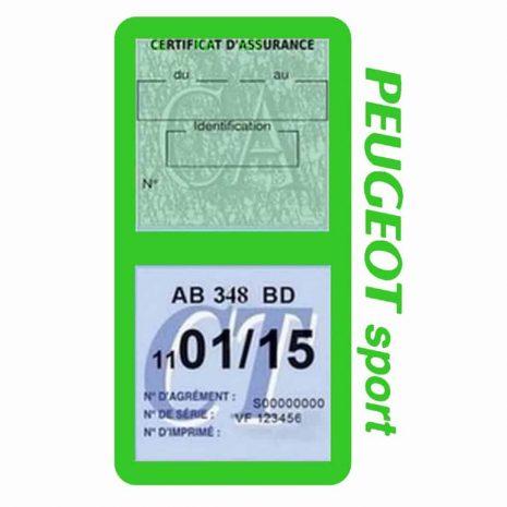 Pochette Peugeot Sport double étui assurance auto vert clair