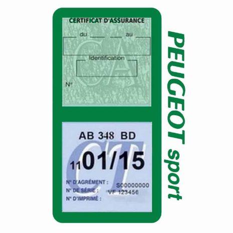 Pochette Peugeot Sport double étui assurance auto vert foncè