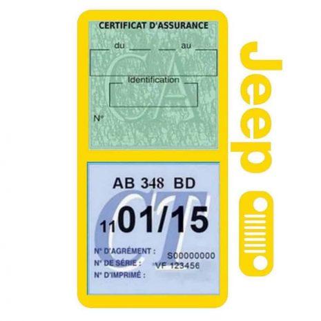 Porte assurance JEEP Calandre jaune double étui pochette voiture