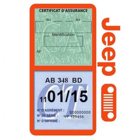 Porte assurance JEEP Calandre orange double étui pochette voiture