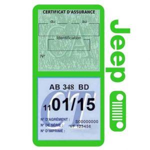 Porte assurance JEEP Calandre vert clair double étui pochette voiture