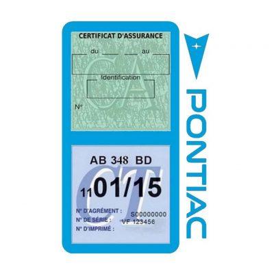 PONTIAC étui vignette assurance voiture bleu clair