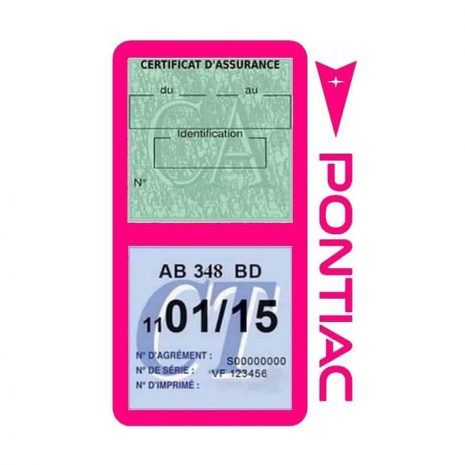 PONTIAC étui vignette assurance voiture rose
