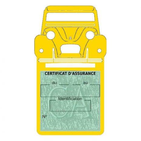 2CV Citroën vignette assurance voiture jaune