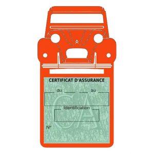 2CV Citroën vignette assurance voiture orange