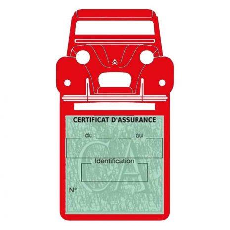 2CV Citroën vignette assurance voiture ROUGE