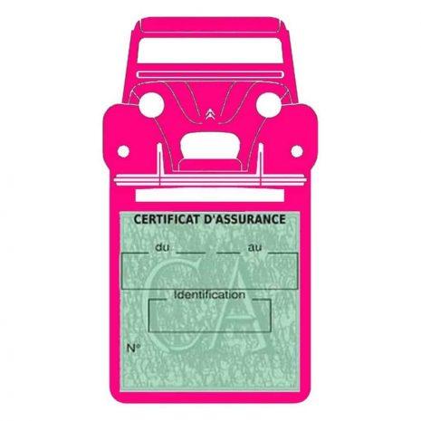 2CV Citroën vignette assurance voiture rose