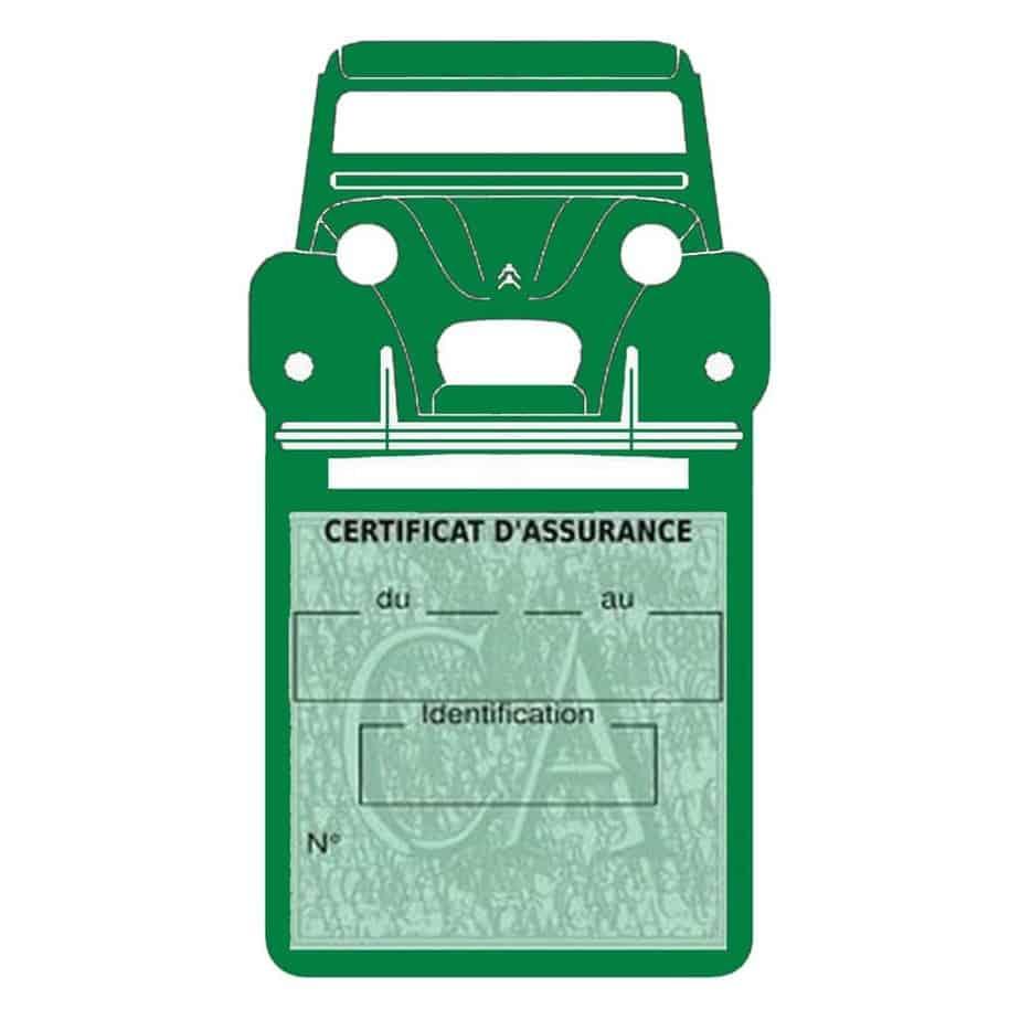 2CV Citroën vignette assurance voiture vert foncé