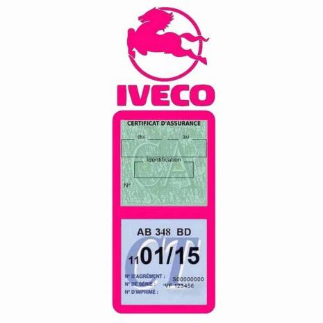 IVECO Vignette Assurance Poids Lourds rose