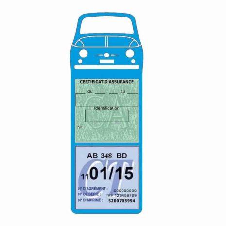 FIAT 500 Porte Vignette Assurance Voiture Méga bleu clair