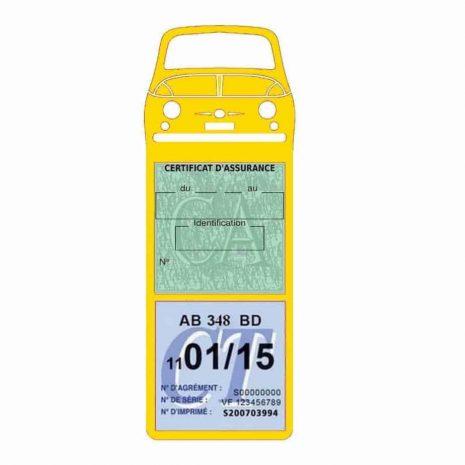 FIAT 500 Porte Vignette Assurance Voiture Méga jaune