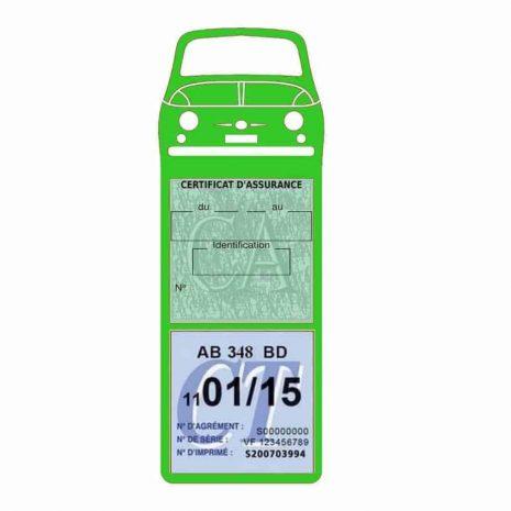 FIAT 500 Porte Vignette Assurance Voiture Méga vert clair
