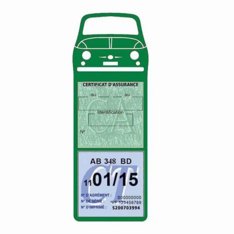 FIAT 500 Porte Vignette Assurance Voiture vert foncé