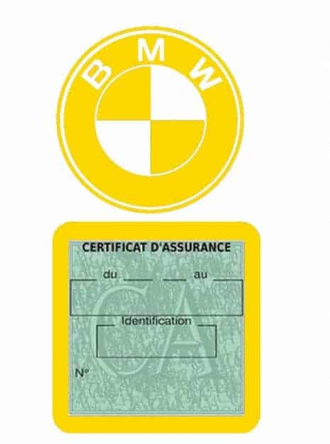 BMW pochette étui assurance voiture moins 4 Ans jaune