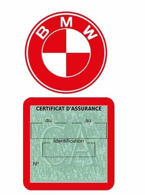 BMW pochette étui assurance voiture moins 4 Ans rouge