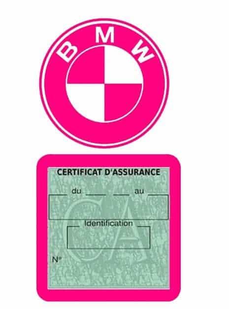 BMW pochette étui assurance voiture moins 4 Ans rose