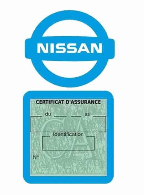 NISSAN pochette étui assurance voiture moins 4 Ans bleu clair