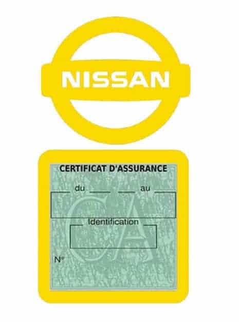 NISSAN pochette étui assurance voiture moins 4 Ans jaune