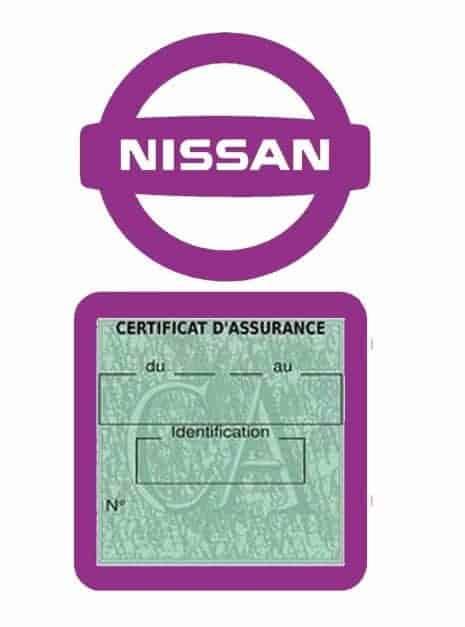NISSAN pochette étui assurance voiture moins 4 Ans mauve