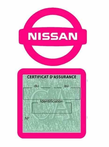 NISSAN pochette étui assurance voiture moins 4 Ans rose