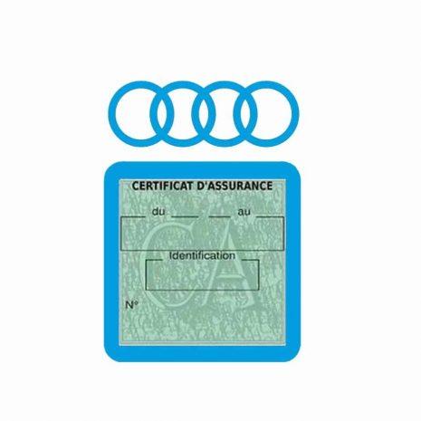 AUDI pochette étui assurance voiture moins 4 Ans bleu clair