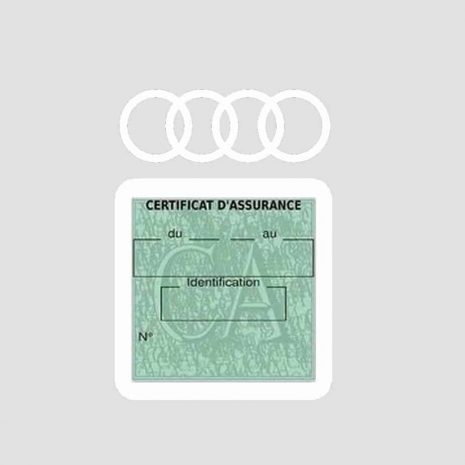 AUDI pochette étui assurance voiture moins 4 Ans blanc