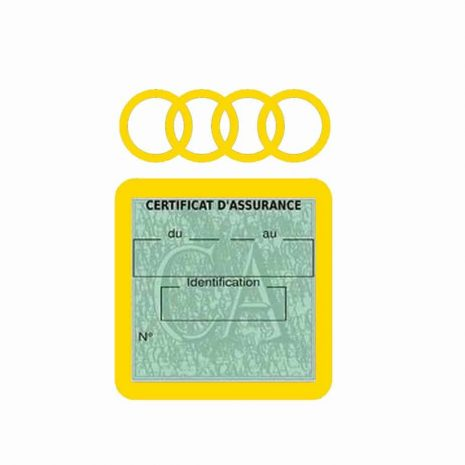 AUDI pochette étui assurance voiture moins 4 Ans jaune
