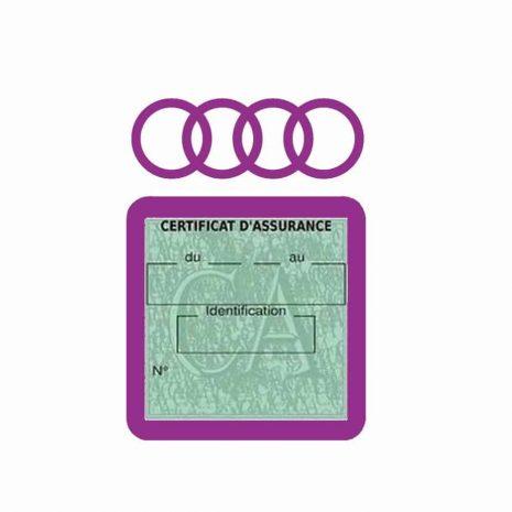 AUDI pochette étui assurance voiture moins 4 Ans mauve