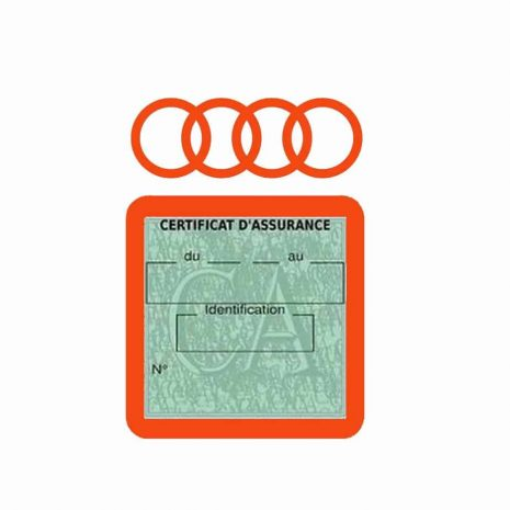 AUDI pochette étui assurance voiture moins 4 Ans orange