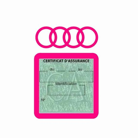 AUDI pochette étui assurance voiture moins 4 Ans rose